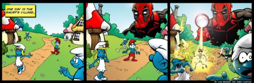 DeadpoolMeetsTheSmurfs 500x163 Deadpool Meets the Smurfs