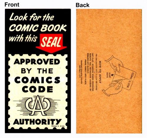 Vintage CCA Sticker Small Front Back 72dpi 499x467 The Comics Code Authority Comic Books