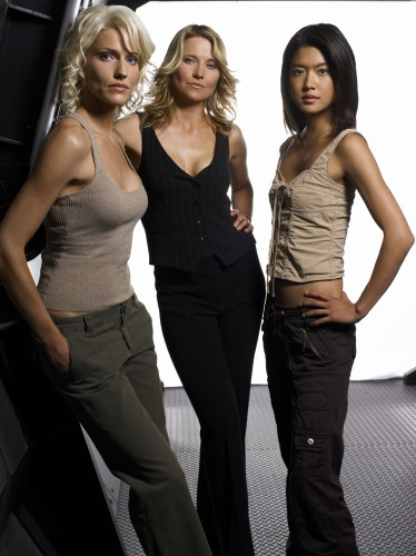 Battlestsar Galactica (2003)   Season 3 Promo   85Pc 374x500 Sci Fi Girls: Tricia Helfer, Lucy Lawless, Grace Park Television Sexy Fantasy   Science Fiction