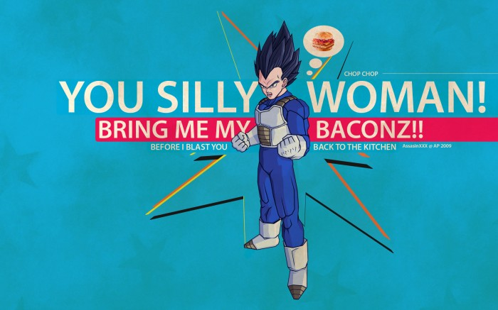 baconz 700x437 You silly woman, bring me my baconz! Wallpaper Sexist DBZ bacon