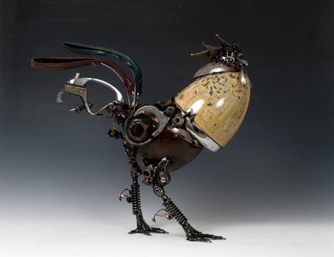 Rooster Animals made out of Car Parts Technology Art