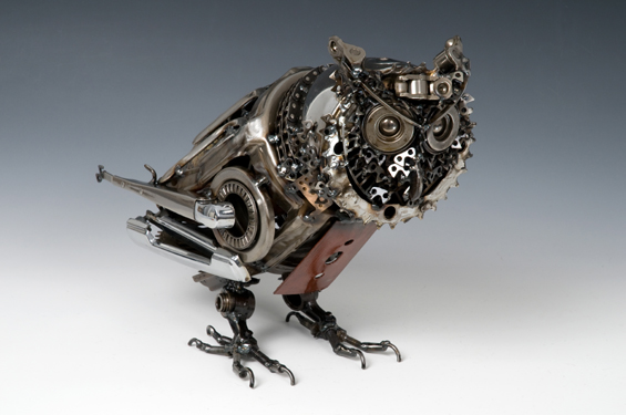 Small Eared Owl Animals made out of Car Parts Technology Art