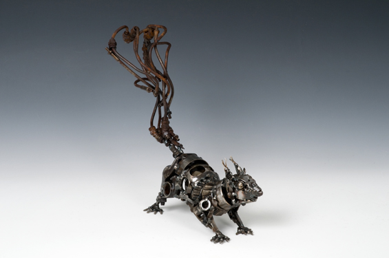 Squirrel Animals made out of Car Parts Technology Art