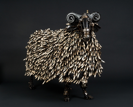 The Ram Animals made out of Car Parts Technology Art