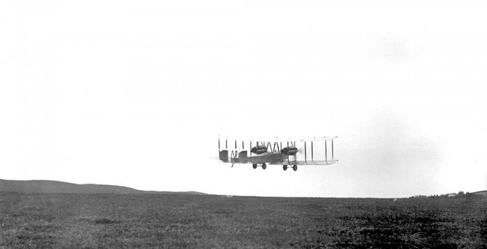 Alcockandbrown takeoff1919 700x359 First non stop transatlantic flight Awesome Things airplanes