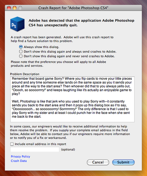 CS4 Crash Report   So sooorrryy Crash Report for Adobe Photoshop CS4