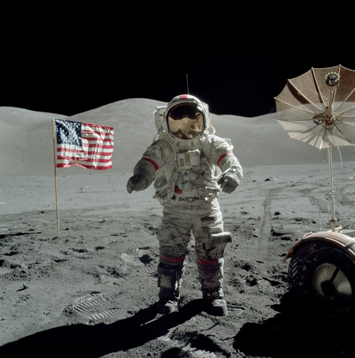 Apollo 17 Cernan on moon 695x700 The last man to walk on the Moon