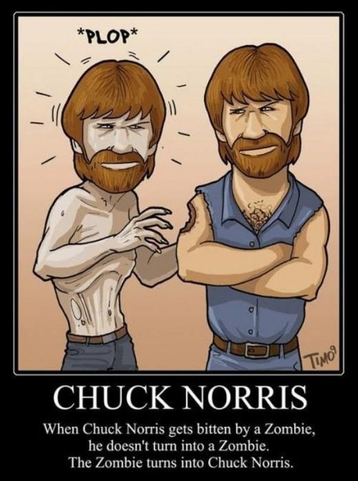 Chuck Norris bitten by Zombie 521x700 Chuck Norris Bites Zombie Memes Humor