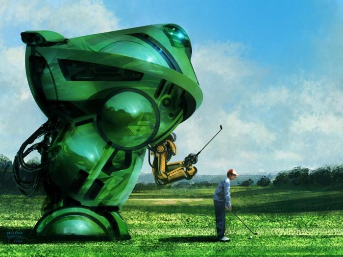 Golf Mech by steve burg 700x525 the art of Steve Burg Wallpaper Fantasy   Science Fiction