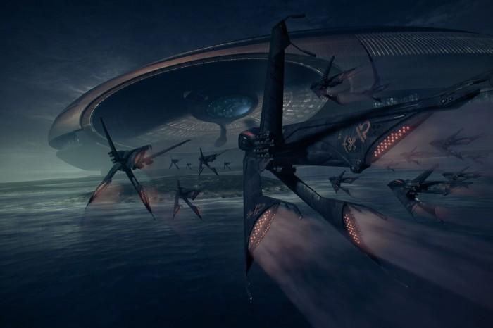arcology  nightfall by steve burg d2yokxj 700x466 the art of Steve Burg Wallpaper Fantasy   Science Fiction