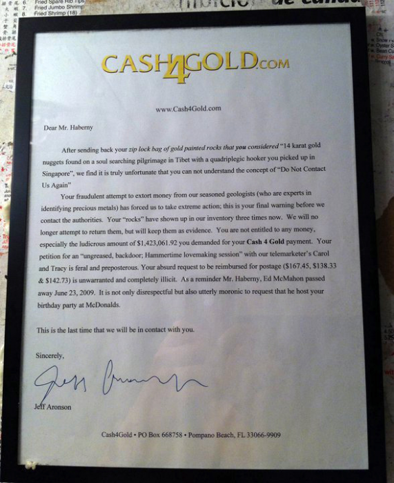 cash4goldletter 571x700 Cash4Gold rejection letter Humor