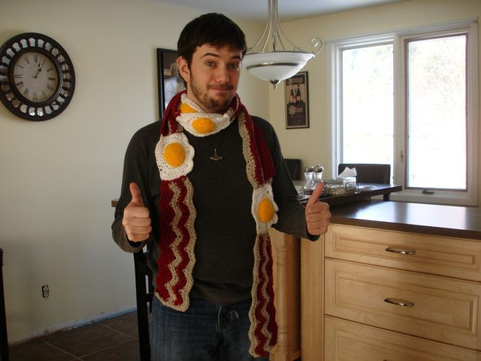bacon and eggs scarf Awesome scarf wtf Food bacon