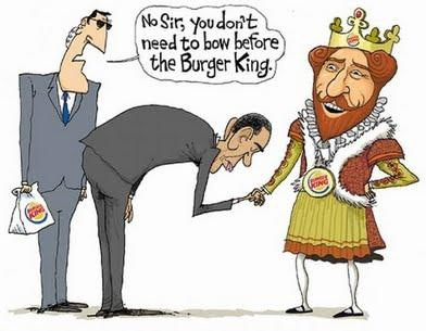 barack obama bowing to burger king Obama Bowing Politics Humor Food