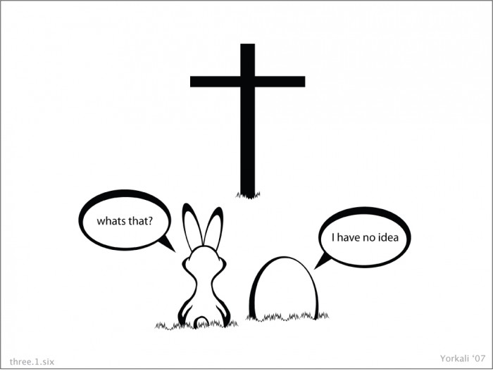 bunny egg cross wall 700x527 Easter bunny conversation Religion Humor Easter