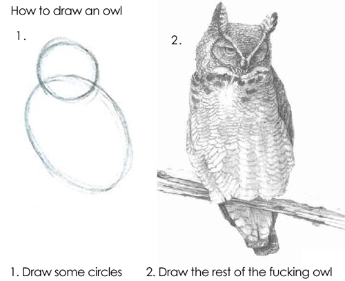 howtodrawowl How to draw an owl. Humor Art