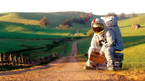 astronaut hitchhiker 1 0911 Budget cuts NASA Humor