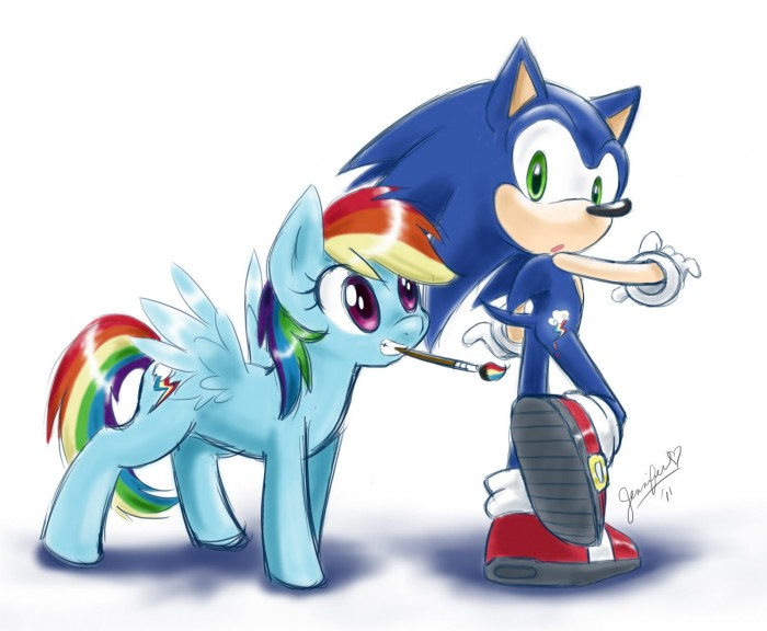 1308075293513 700x576 sonic meets ponnies Wallpaper sonic mlp Humor