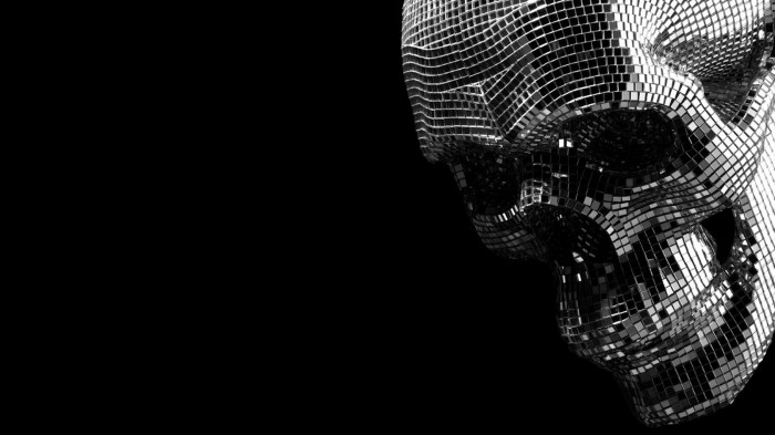 4y 700x393 Disco Skull wall Wallpaper