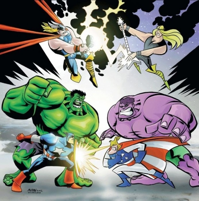 The avengers vs. The justice friends 692x700 The Avengers vs. The Justice Friends