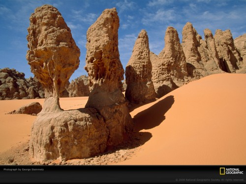 pillars sandstone POD 500x375 Sandstone Pillars, Sahara Desert, Chad, 1999 Wallpaper Nature