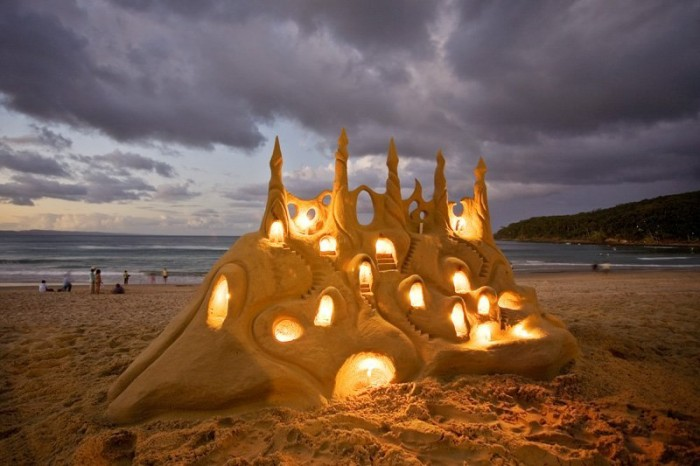 Lighted sand castle