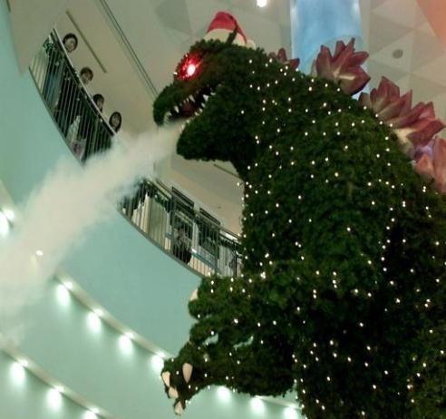 godzilla christmas tree santa hat 13239061981 Godzilla Christmas Tree X Mas Godzilla Awesome Things
