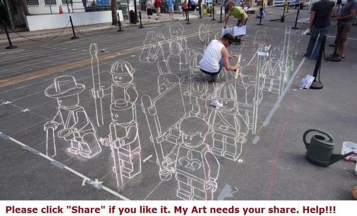 401166 3121428155432 1256411501 33350038 1835633278 n 700x424 Chalk Art Lego Men lego Art