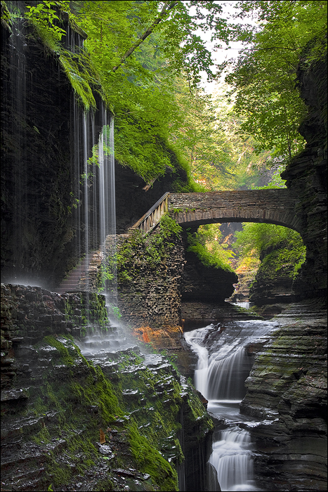 waterfall and bridge Nature Awesome Things
