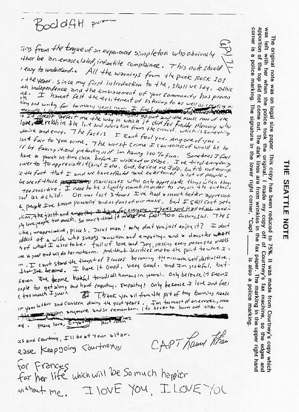 etter Kurt Cobains suicide letter Sad :(