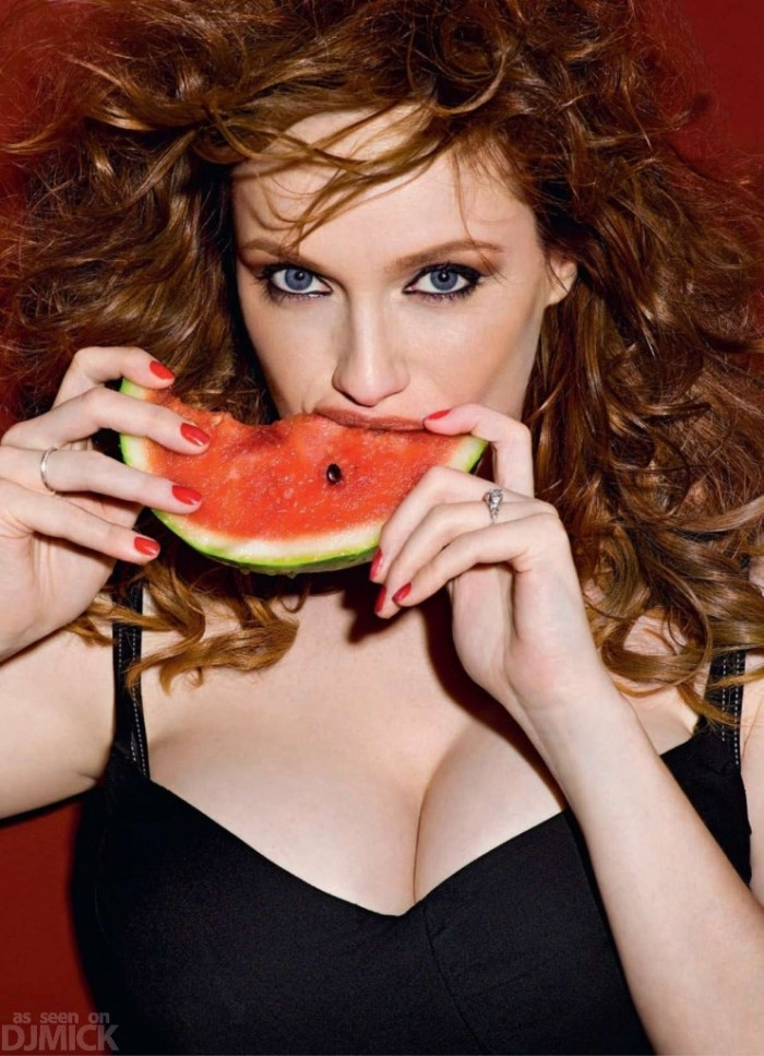 Christina Hendricks eats her vegetables