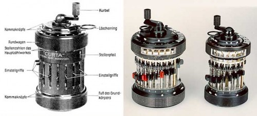 Curta Mechanical calculator   Parts 500x227 Curta Mechanical Calculator Science!
