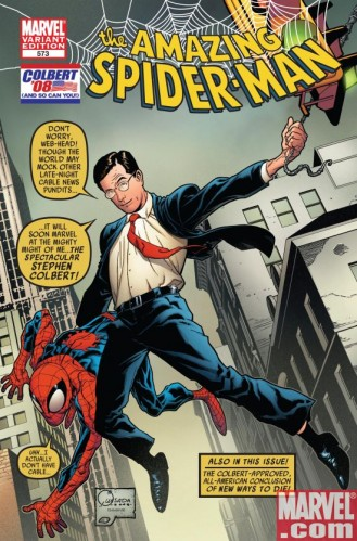 spidey colbert cover 329x499 The Amazing Colbertman! Television Comic Books