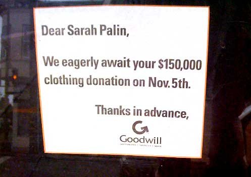 aa Message from Goodwill to Sarah Palin Politics Humor