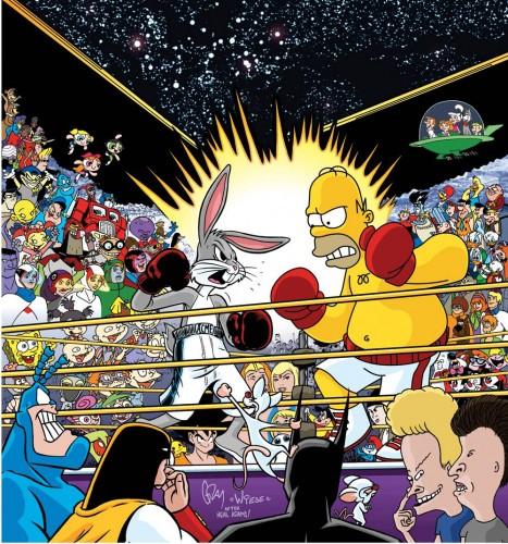 Boxing match cartoon