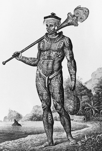 Early images of tattooed Marquesas Islanders