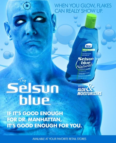 drmanhattanshampoo 407x500 Dr.Manhattan Selsun Blue Movies Humor Comic Books Advertisements