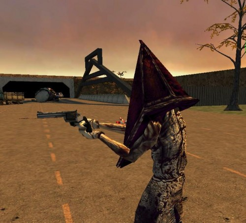 Pyramid Head Has A Magnum by Yohan Gas Mask 500x452 The face of rape with a gun Gaming
