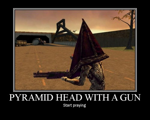 Pyramid Head With A Gun by Yohan Gas Mask 500x400 The face of rape with a gun Gaming