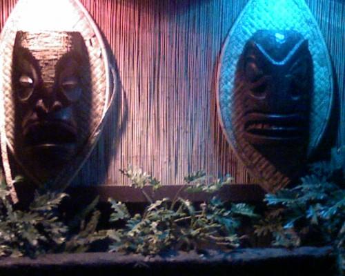 tiki maskredblue 500x400 Tiki Totem and Mask Tiki