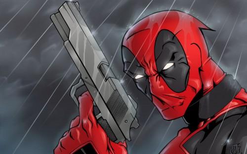 deadpool in the rain 500x312 Deadpool   Wallpaper edition Wallpaper Humor Comic Books