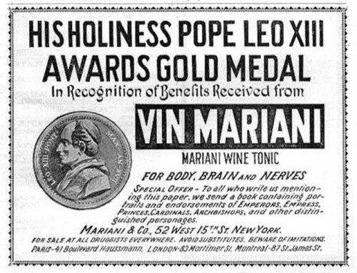 cocapope 500x383 Mariani wine Politics Alcohol