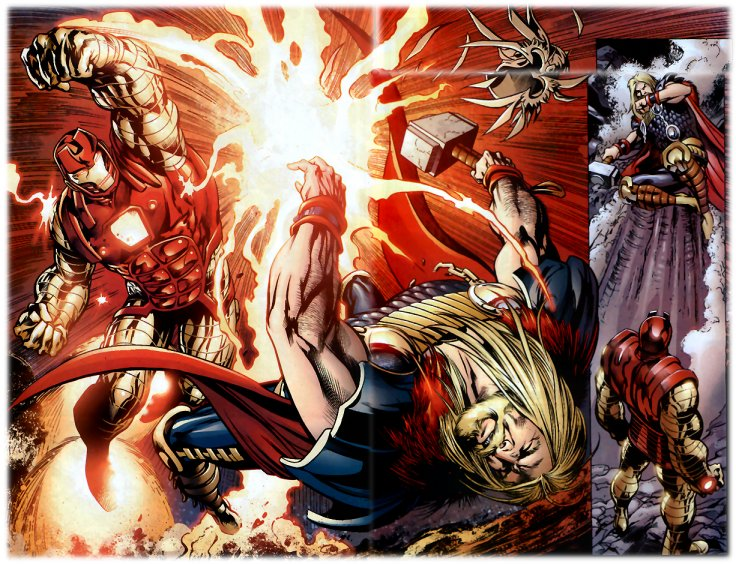 thorbust Thor gets laid out by Iron Man wtf Fantasy   Science Fiction Comic Books