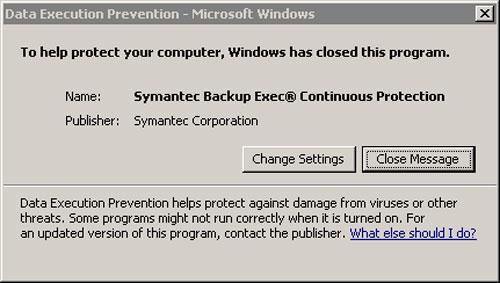 Backup Exec CPS Error