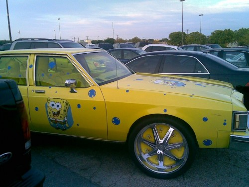 yellow ghetto car - sponge bob
