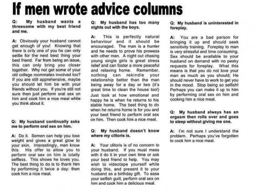 if men wrote advice columns 500x375 If Men Wrote Advice Columns Sexist Humor