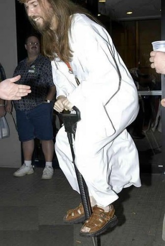 jesus on a pogo stick