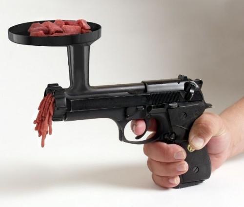 Meat grinder gun