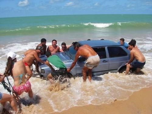 Car stuck on beach