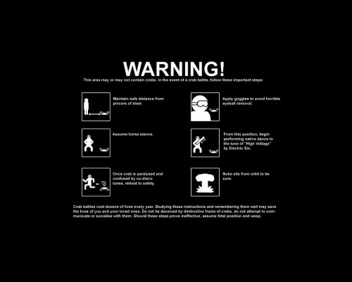 Warning - Crabs In Area