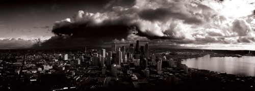 stormy seattle 500x179 Stormy Seattle Wallpaper Aerial